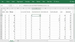 Craps Pass Bet With Odds Strategy Simulation, Setup in Excel Spreadsheet