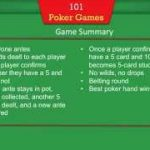 101 Poker Games – Instructions for Texas Holdem, 5-Card Stud, and 5-10 Opener