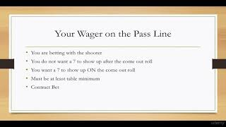 Learn to Play Craps Like a Pro : Pass Line – Lecture