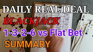 Daily Real Deal: Blackjack 6-decks 1-3-2-6 vs Flat Bet Summary