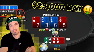 I Won $25,000 in One Day at Poker (Crushing Pot Limit Omaha Cash Games)