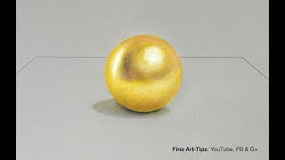 How to Draw a Gold Sphere With Color Pencils – Narrated