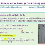 Probability in the Game of Poker with 3 Cards and 5 Cards Straight Flush Doubles Exam Questions