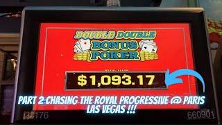 PT. 2 going for the progressive royal flush ddb video poker at Paris Las Vegas !! 💵💵💵