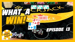 WHAT A WIN! TABLE CATCHES FIRE! One Shoe Blackjack Challenge | Episode 13