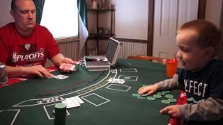3 year old Boy Learning Blackjack