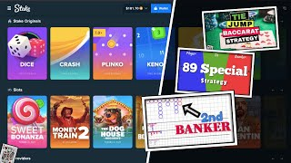 3-way Baccarat Strategy! Online Play w Bitcoin! | Second Banker + 89 Special + Tie Jump!