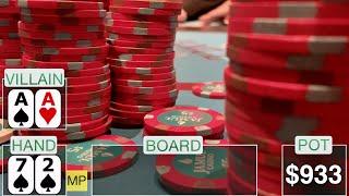 ALL-IN! 72 vs AA ($1000 POT!) // Texas Holdem Poker Vlog 17