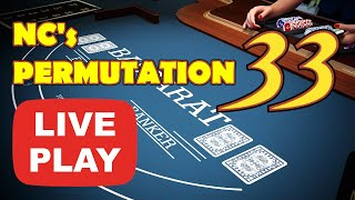 LIVE DEALER | REAL MONEY | PROFIT | PERMUTATION 33 – Baccarat Strategy Live Play