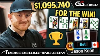 Jason KOON with the NUT FLUSH in a $25,500 Poker Tournament!