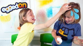Gary and Evan Play Egged On   Eggedon Roulette Challenge for kids