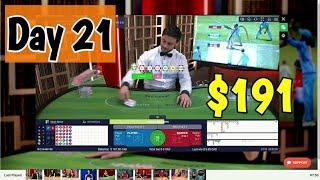 Baccarat Winning Strategy 3% Challenge -$191 Bankroll – Day 21
