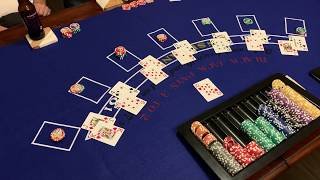 Playing Blackjack (tournament style) at home with friends and family. $10 buy-in Game 1